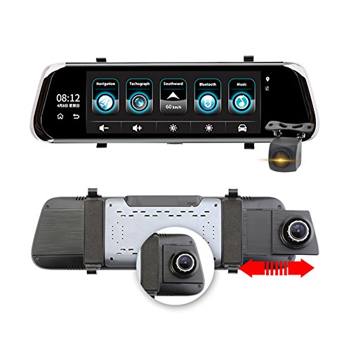 """CUagain Medien Streaming Dashcam mit 10""""IPS Touchscreen FHD 1080P Autokamera ADAS GPS Navi Wifi Rückfahrkamera mit Nachtsicht"""