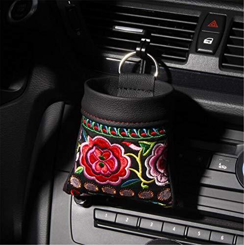 MS.REIA Retro Car Air Outlet Aufbewahrungstasche, chinesische Art Multifunktions-Autotelefon ID Taschen Leder