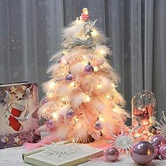 WZR Mini Artificial Árbol De Navidad,DIY -Top Blanco Árbol De Navidad Único Don con Soporte De Madera Led Luces Adornos Decoración Navideña