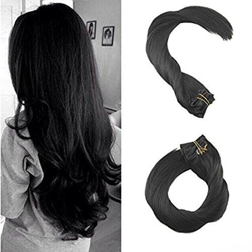 Ugeat Dream 24 pouces Extensions de cheveux humains Clip dans les cheveux de couleur noire # 1B Cilp sur Real Remy cheveux humains soyeux Remy Clip droit dans les extensions de cheveux Double trame 120g / 7 pièces par paquet