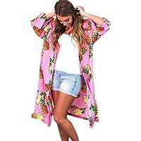 masrin Frauen Sommer Ananas Print böhmischen Kimono Cardigans Bluse Cover Ups Sportbekleidung für tägliche Ausflüge Gym Indoor Outdoor-Übungen Freizeit-Shirt Persönliche Stimmung Kleidung (rosa, m)
