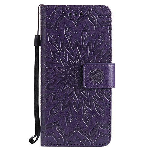Huawei Y5 II / Y5 2 Hülle, Chreey [Prägung Indische Sonne] Lederhülle Sonnen Blume Brieftasche Wallet Tasche Magnet Flip Case Handyhülle Etui mit Kartenfach Ständer [Lila]