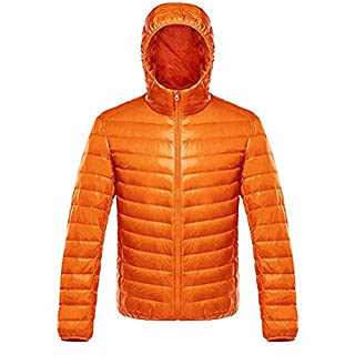 Ake Herren Daunenjacke Packable Long Sleeve Hooded Down Puffer Jacke -Orange