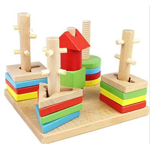 TOYMYTOY Madera apilar clasificar formas Apilador geométrico juguetes bloques Montessori para niños