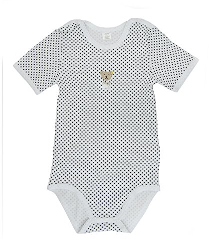 Steiff Unisex - Baby Body 0008733 1/2 Arm, Gepunktet, Gr. 104, Weiß (Bright White)
