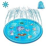 ELECTRAPICK Sprinkler Matte Kinder Wasserspielzeug Garten 175cm Wasserspielmatte für Kinder Baby, Blau