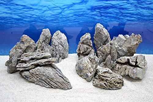 (2,74EUR/kg) 20 Kg Originale Aquarium Deko Natursteine in grau mit insg. 13 Stück Nr.68 Dekoration Felsen Steinrückwand Steine