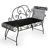 HLC Metall Klassische Bank Gartenbank Liegestuhl aus Eisen 110 * 44 * 85 cm