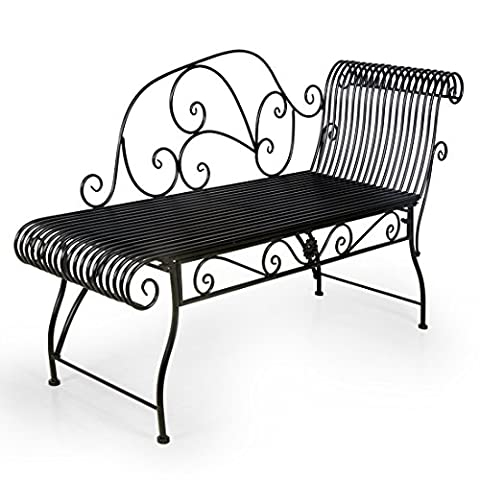 HLC Fauteuil Relax Banc Jardin Salon en Fer Forgé Banquette Relaxant Métal 110cm