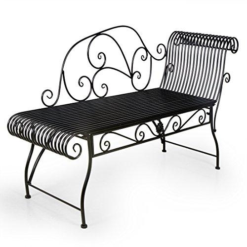 HLC Metall Klassische Bank Gartenbank Liegestuhl aus Eisen 110*44*85 CM