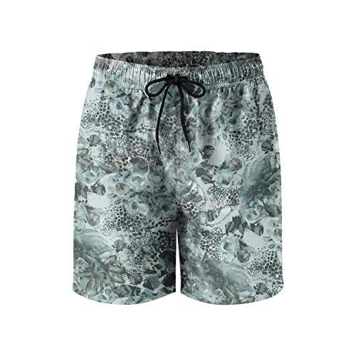 Custom Leopard Cheetah Print Gray Black Brown Fashion Mens Beach Short,Size:XX-Large
