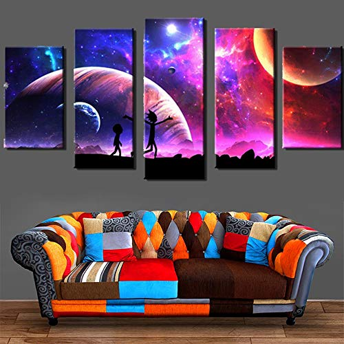 Canvas Pictures Home Wall Art Decor 5 Piezas Rick And Morty Painting For Living Room Hd Prints Animated Cartoon Poster(size 2)