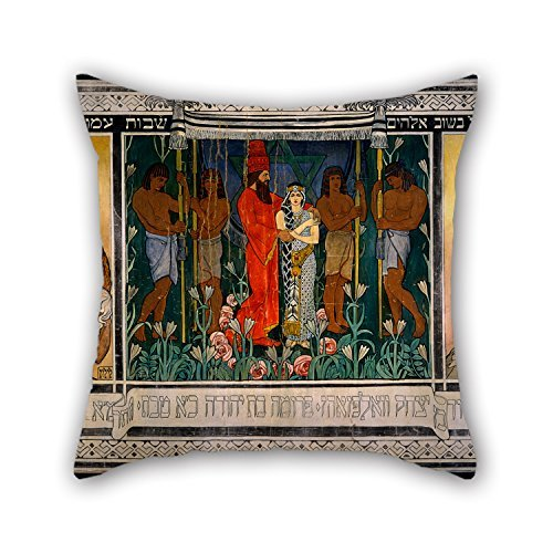 beautifulseason Oil Painting Ephraim Moses Lilien - an Allegorical Wedding- Sketch for A Carpet Dedicated to Mr. and Mrs. David Wolffsohn Triptych (from Pillowcase 20 X 20 Inches/50 by 50 cm Gift