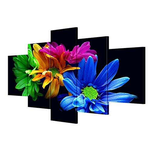 GY&H 5 Stücke von abstrakten Gemälden Schwarzer Boden und bunte Blumen Drucke auf Leinwand Wohnzimmer dekorative Kunst Wandmalerei,Size1