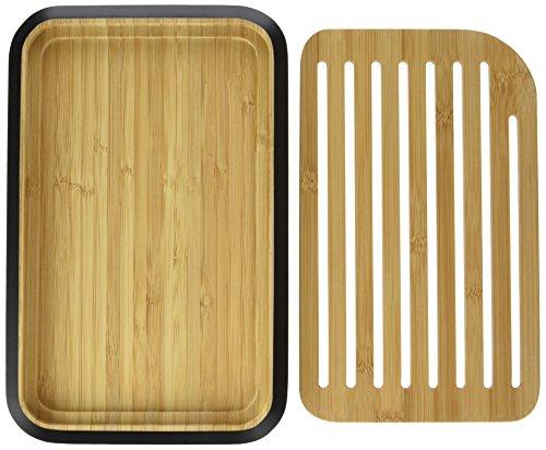 Pebbly nba101Tabla de Pan S bambú Negro 18x 28x 1, 9cm