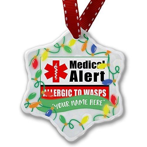 Monsety Neuheit Weihnachtsschmuck Personalisierte Namen Weihnachten Ornament Medical Alert Rot Allergisch auf Wespen Ornament Craft Crafts Xmas Tree zum Aufhängen