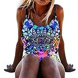 OverDose Damen Einteiler Bikini Push-Up gepolsterte Bademode Badeanzug (A-Blue ,M)