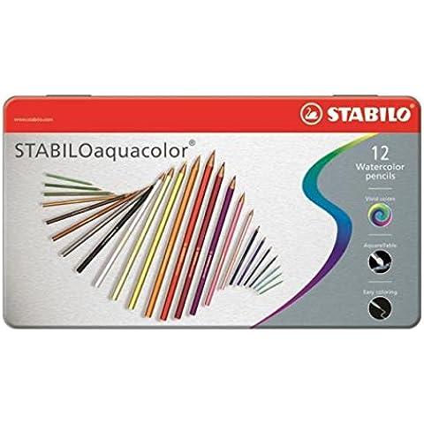 Stabilo Aquacolor - Pack de 12 lápices de color, acuarelable, tamaño 12