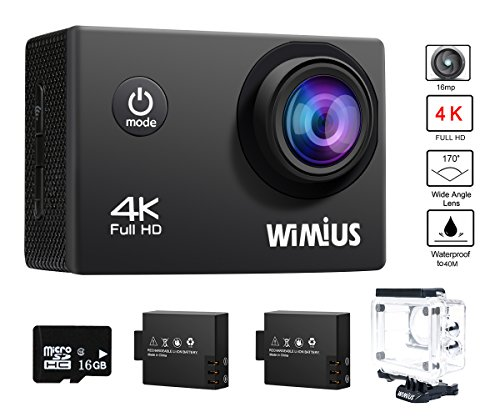 WiMiUS Actioncam 4K Action Cam WiFi Action Kamera HD 16MP Wasserdichte Helmkamera mit 2Akkus
