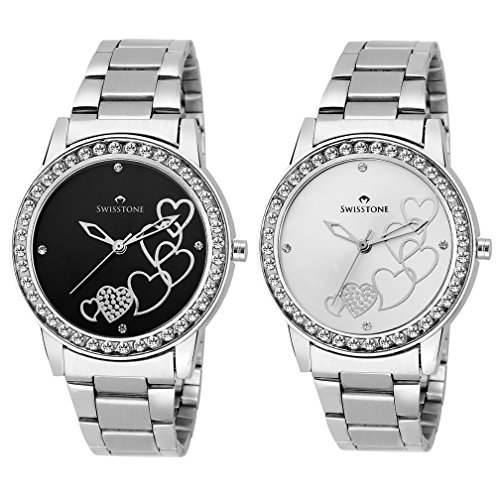 Swisstone Analogue Black Dial Women's And Girl's Watch Combo -Cmb236-Blk-Slv
