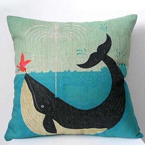 Leinenbaumwoll Kissenbezüge 45cm x 45cm in verschiedene Muster (Wal und Vogel)