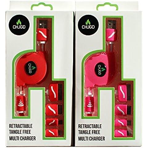 Multi Carga Premium retráctil libre de enredos chjgd 4en 1Cargador USB universal adaptador de cable Connecter compatible con dispositivos Apple y Android Año de Garantía (Rojo)
