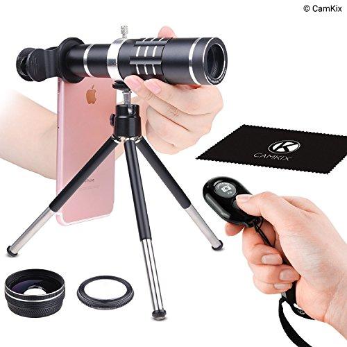 CamKix® Universal 3in1 Objektiv-Kit mit Bluetooth Fernbedienung (Kameraauslöser) + 18fache Tele- + Makro- + Weitwinkelobjektive - Fantastische Handyfotografie für Apple iPhone, Samsung Galaxy, etc.