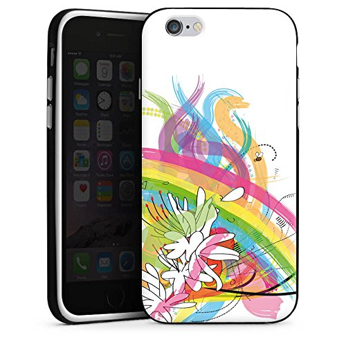 Apple iPhone 4 Housse Étui Silicone Coque Protection Fleurs Fleurs Arc-en-ciel Housse en silicone noir / blanc