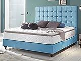 Boxspringbett 180x200 Himmelblau Berlin Hotelbett Doppelbett Matratze Topper Modern Luxus Bett (180x200cm, Blau)