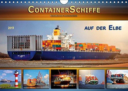 Containerschiffe auf der Elbe (Wandkalender 2019 DIN A4 quer): Große Pötte auf dem Weg zu den Container-Terminals im Hamburger Hafen. (Monatskalender, 14 Seiten ) (CALVENDO Mobilitaet)