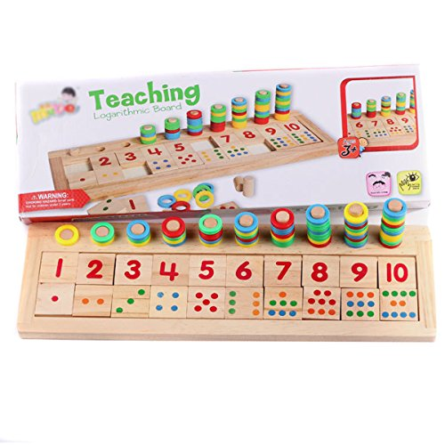 Milya Kinder Pädagogisches Lern-Spiel, Zahlenpuzzle Holz Bunte Farbe, Früherziehung Spielzeug, Spielzeug-Holzklötze, Zählen für Kinder unter 6 Jahre