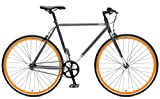 Critical Cycles Harper Single-Speed Fixed-Gear Urban Commuter Bike, Graphit/Orange, 53 cm/Medium