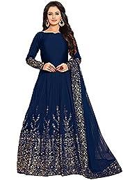 Globalia Creation Women's Taffeta silk dress (blue beige)