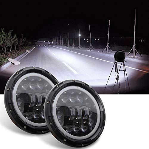 wolfjuvenile Scheinwerfer mit weißem Tagfahrlicht, runde Scheinwerferlampe im Projektorstil, mit Fernlicht für Auto und Motorrad mit H4 / H13-Fassung