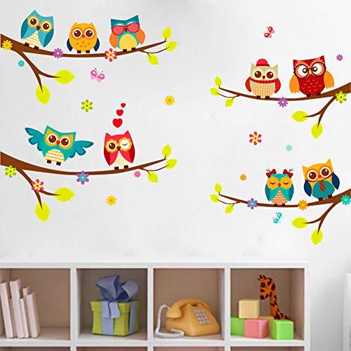 BOENTA Wandaufkleber Für Kinder Cartoon Eule Stehende Zweige Links Und Rechts Vier Paar Mosaik Kinderzimmer TV Wanddekoration Wandaufkleber -