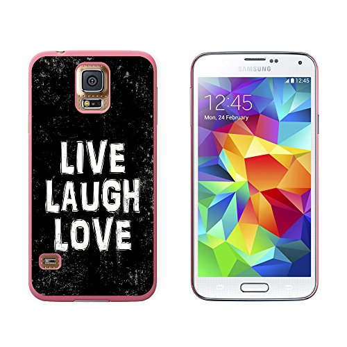 Live Laugh Love Distressed Inspirierende - Snap on Hard Schutzhülle für Samsung Galaxy S5 - Pink (T-mobile Cell Phones Samsung)