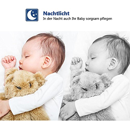 "Babyphone 2.4 GHz Baby monitor 2.4"" HD Digital  Video Babykamera Mit VOX Funktion Wireless Weiß - 4"