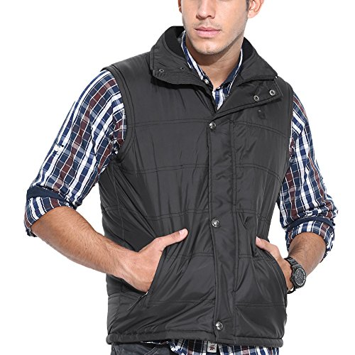 Duke Solid Sleeveless Collared Black Mens Jacket by returnfavors  available at amazon for Rs.1148