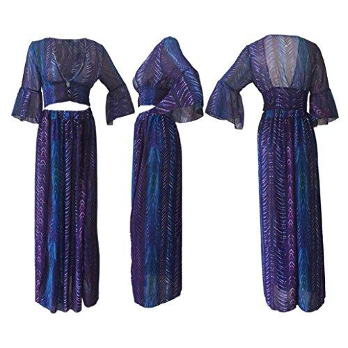 Switchali Vintage V-Rückenfrei Lange Maxi Kleid Abend Cocktail Strand Kleid Lila