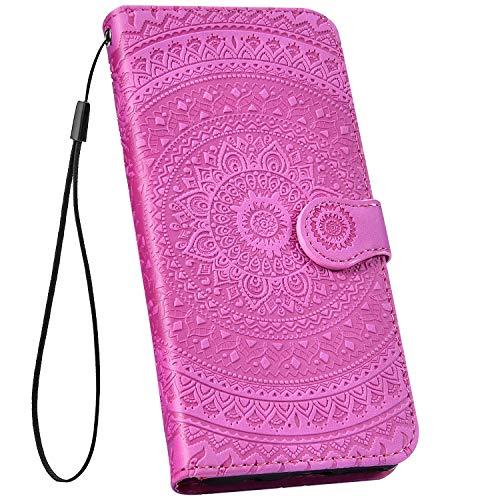 Ysimee kompatibel mit iPhone 6 /iPhone 6S Hülle Bookstyle PU Leder Schutzhülle Wallet Flip Ledertasche Case Handyhülle Lederhülle Handy Tasche[Standfunktion] [Kartenfach], Mandala Lila rot