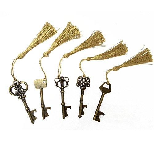 makhryYCZ Hochzeit Favor Geschenk-Set gemischt 15 Skelett Schlüssel Flaschenöffner mit Sikly Quasten für klassische Rustikal Hochzeit Dekoration bronze -