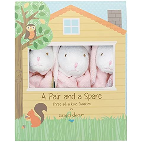 Angel Dear Blankie Pair and a Spare 3 Piece Set, Pink Bunny