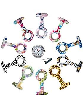 Weihnachten Lancardo 10pcs Silikonhüllen Damen Taschenuhr, Krankenschwester Uhr Analog, 1x Quarzuhr+ 10x Anstecknadel...
