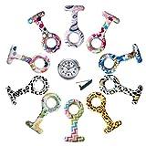 Lancardo Reloj de Bolsillo Silicona Reloj Médico Doctor Enfermera Paramédico Prendedor de Broche Uniforme Dibujos Multicolor Dial Desmontable Movimiento de Cuarzo (10 PCS de Fundas con 1 Pc de Reloj)