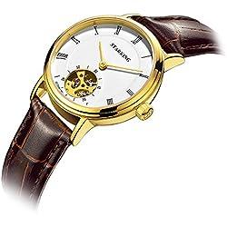 Starking Women Wristwatch Fashion OL Style Charming Watch Roman Numerals Faux Leather Band Analog Quartz Wrist Watch Hollowed-out Self-winding Automatic Mechanical