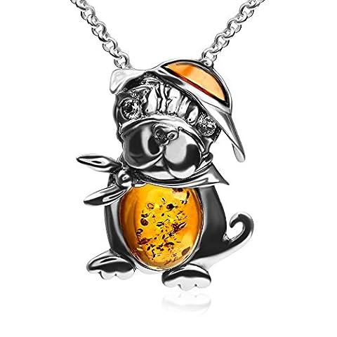 Collier avec pendentif ambre–Argent 925/1000Bulldog–Chaîne