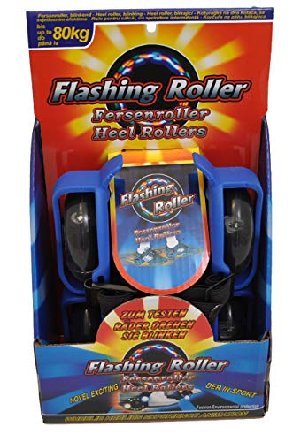 Schnäppchenladen24 Fersenroller 3-Front-LED Licht Schuhe Roller blau Rollschuhe zum umschnallen