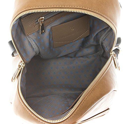 Trussardi Jeans Borsa Zaino da Donna in Eco Pelle con Dettagli in Stampa Saffiano �?27x28x13 Cm �?Mod. 75B711SSM Fango