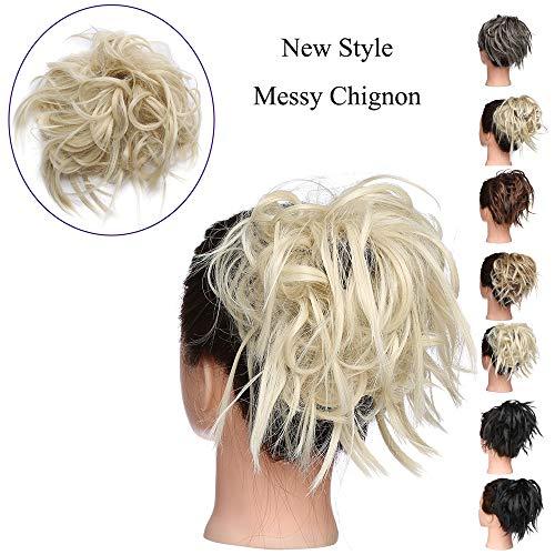 Extension chignon capelli finti biondi ciambella elastico posticci ricci messy hair bun updo ponytail extensions coda di cavallo 45g, biondo chiarissimo