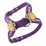 non-brand Sharplace Hundegeschirr Einstellbar Hundegeschirr Sicherheitsgeschirr mit Blume Dekor für Hund Welpe - Lila S